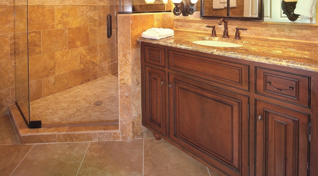 bath with vanity and shower